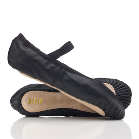 Black leather ballet shoes with pre-sewn elastic, by Bloch