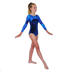 1fdd4ea3d806 Tappers & Pointers GYM 23 Long-Sleeved leotard in Navy/Silver by ...