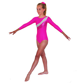 f66d572d01e8 Tappers & Pointers GYM 19 Long-Sleeved leotard in Lipstick/Silver